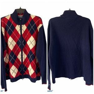 Tommy Hilfiger Lambswool Argyle Zip Sweater